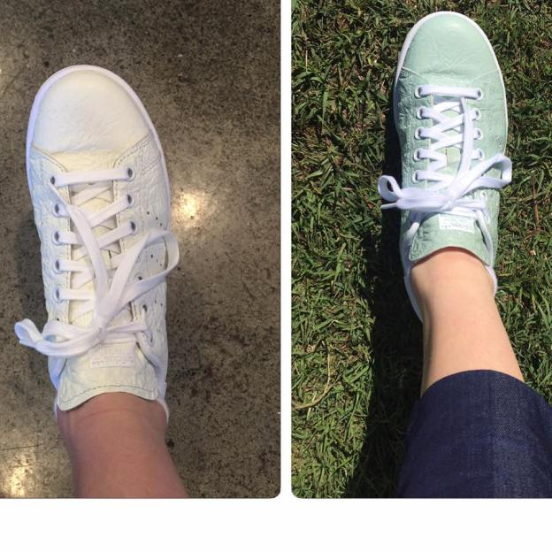 """Got a pleasant surprise from my adidas Originals #stansmith shoes!! In the sunlight they turned green.. Super cool design!!!"" (Photo: Sally Pearson / Facebook)"